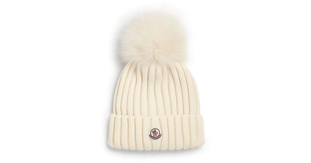 2c580c4c2ae Lyst - Moncler Fur Pom-pom Ribbed Wool Hat in White