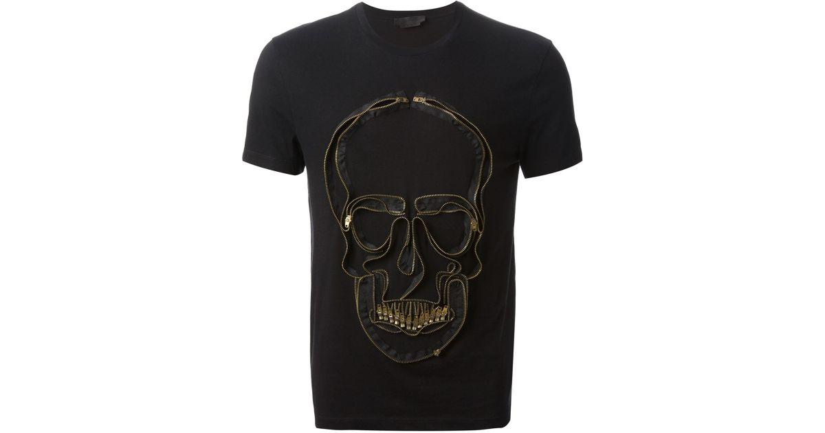 7bc63cdd Alexander McQueen Zip Skull Tshirt in Black for Men - Lyst