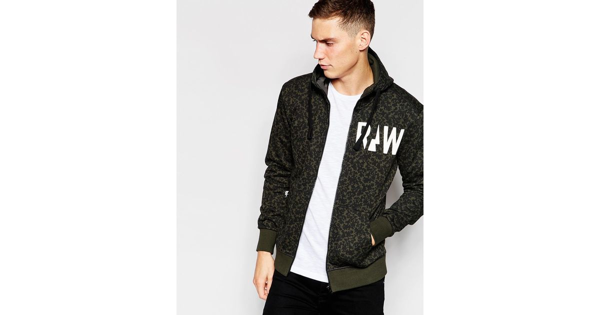g star raw zipthru hoodie micro forest camo print in. Black Bedroom Furniture Sets. Home Design Ideas