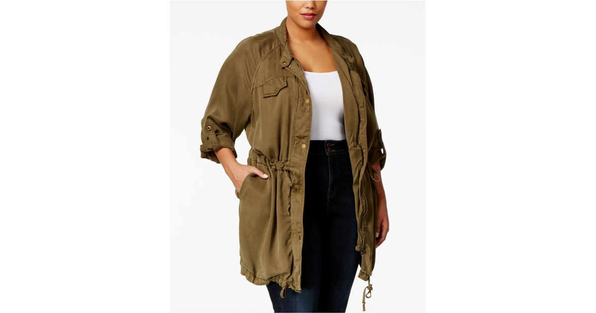 21d8d34645b Lyst - Lucky Brand Plus Size Tab-sleeve Anorak Jacket in Green