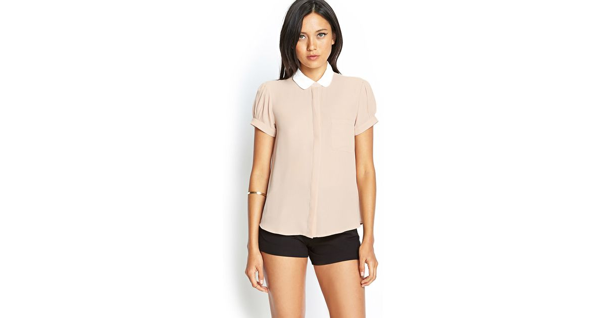 885d379b Forever 21 Contrast Peter Pan Collar Blouse in Pink - Lyst