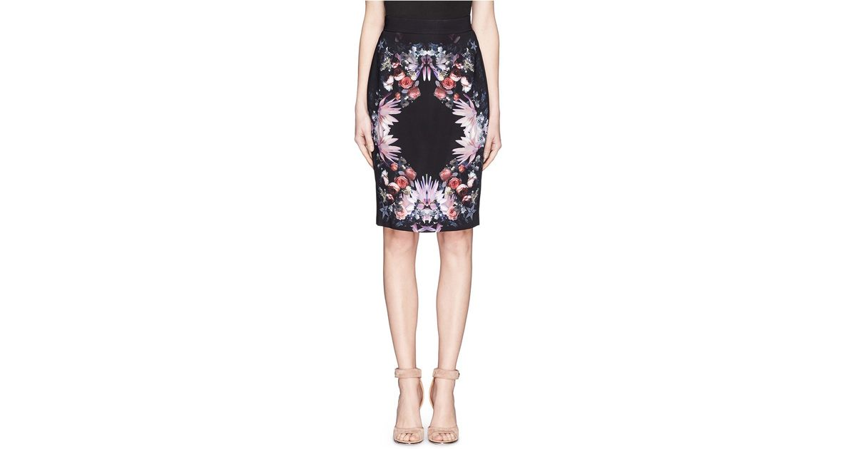 1f67849ef Givenchy Floral Collage Print Pencil Skirt - Lyst