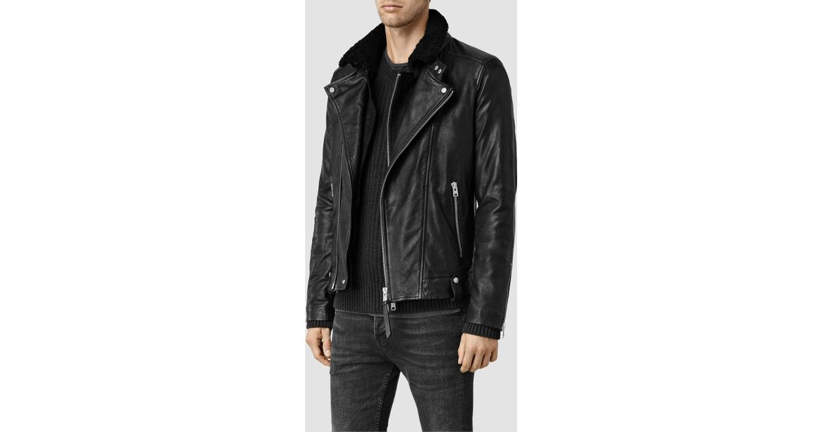 Allsaints Prospect Leather Biker Jacket Usa Usa In Black