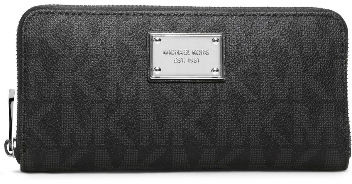 81a2064ef87d ... wristlet 6ef33 434b3; france lyst michael michael kors jet set travel  logo continental wallet in black 21325 e8537