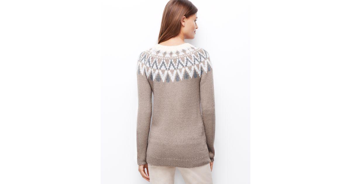 Ann taylor Fair Isle Tunic Sweater in Gray | Lyst