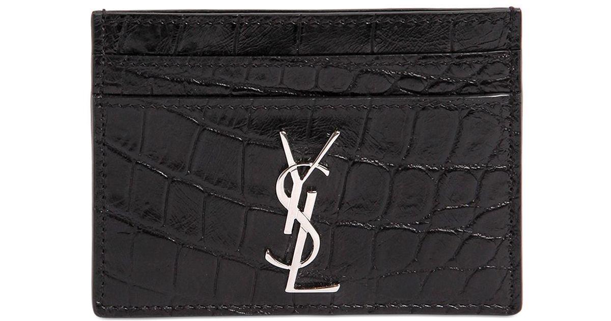 c73dab555e75 Lyst - Saint Laurent Croc Embossed Leather Card Holder in Black for Men