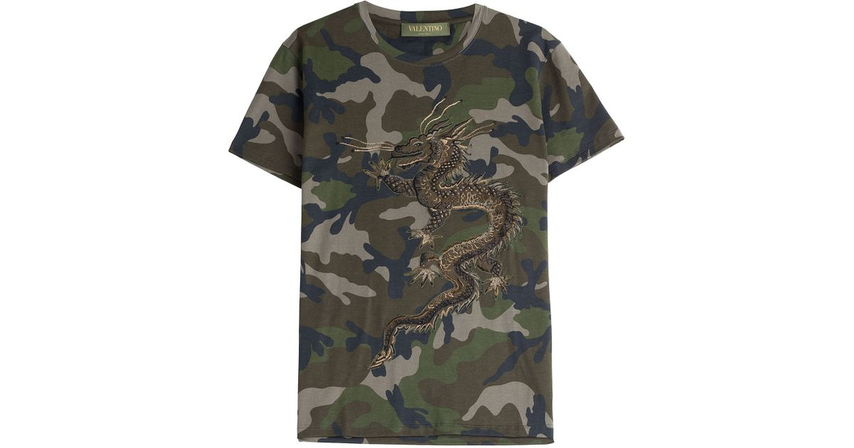 Valentino Camo Print Polo Shirt In Green For Men Lyst
