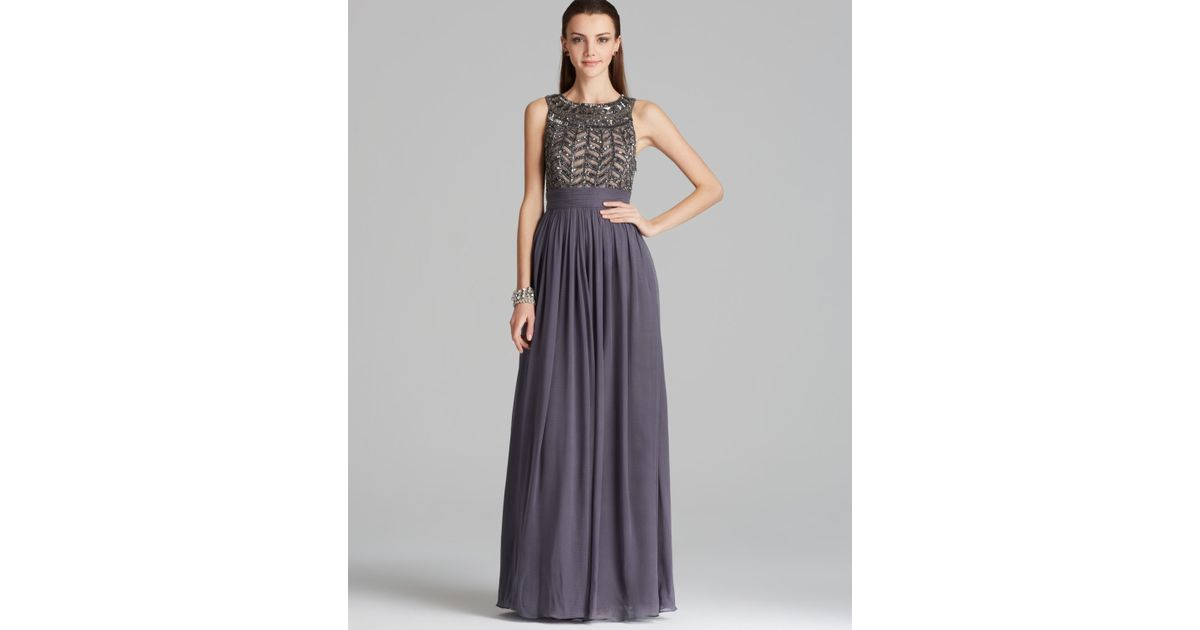Lyst - Js Collections Beaded Bodice Chiffon Gown - Gladiator in Gray