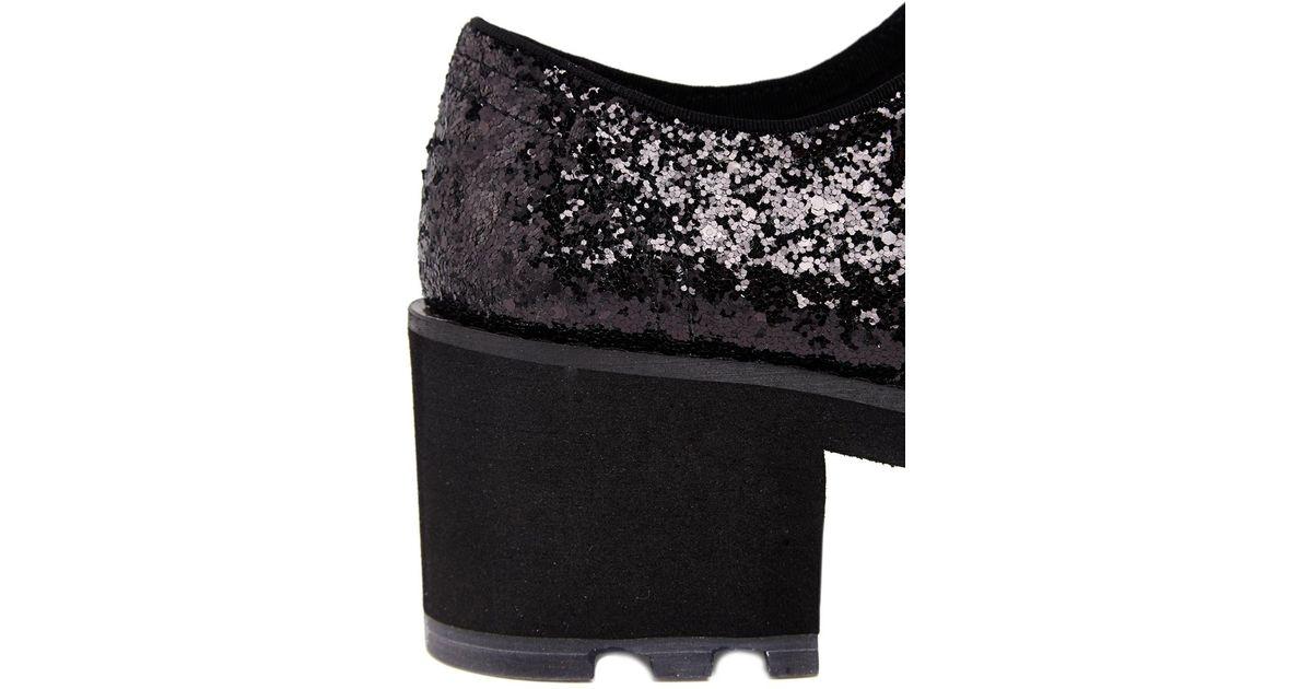 3776fbfa38ee Lyst - Cheap Monday Black Tractor Hidden Glitter Heeled Shoes in Black