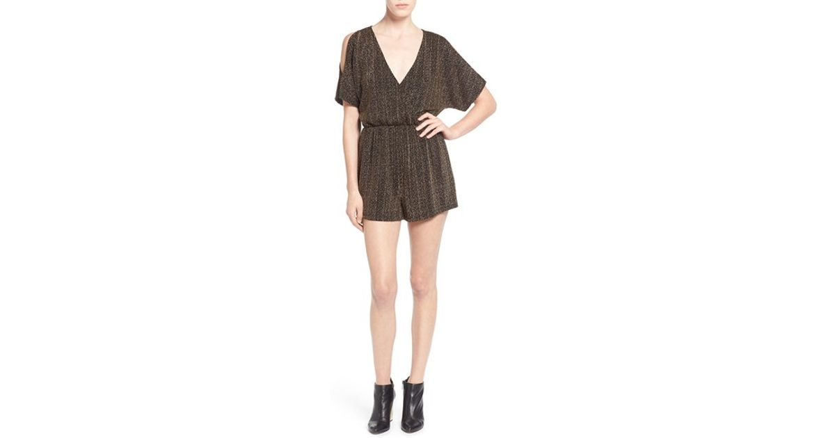 279a47d1122e Lyst - Astr Metallic Cold Shoulder Romper in Black