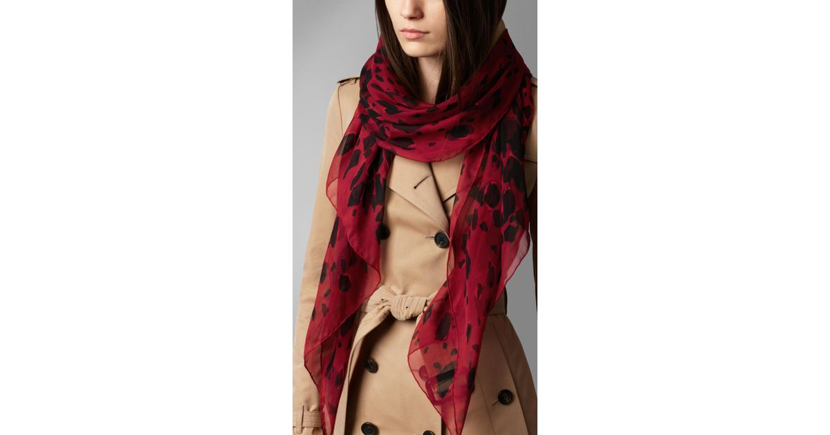 burberry animal print silk georgette scarf in