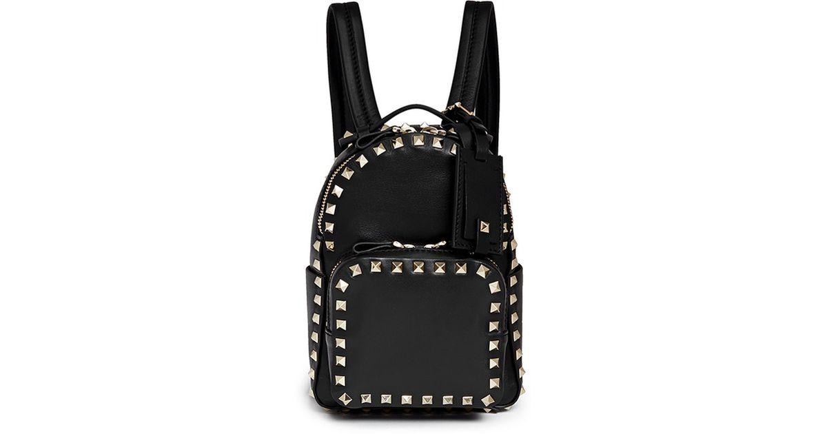 3998e54307 Valentino 'rockstud' Mini Leather Backpack in Black - Lyst