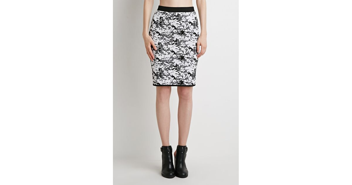 forever 21 abstract patterned pencil skirt in black white