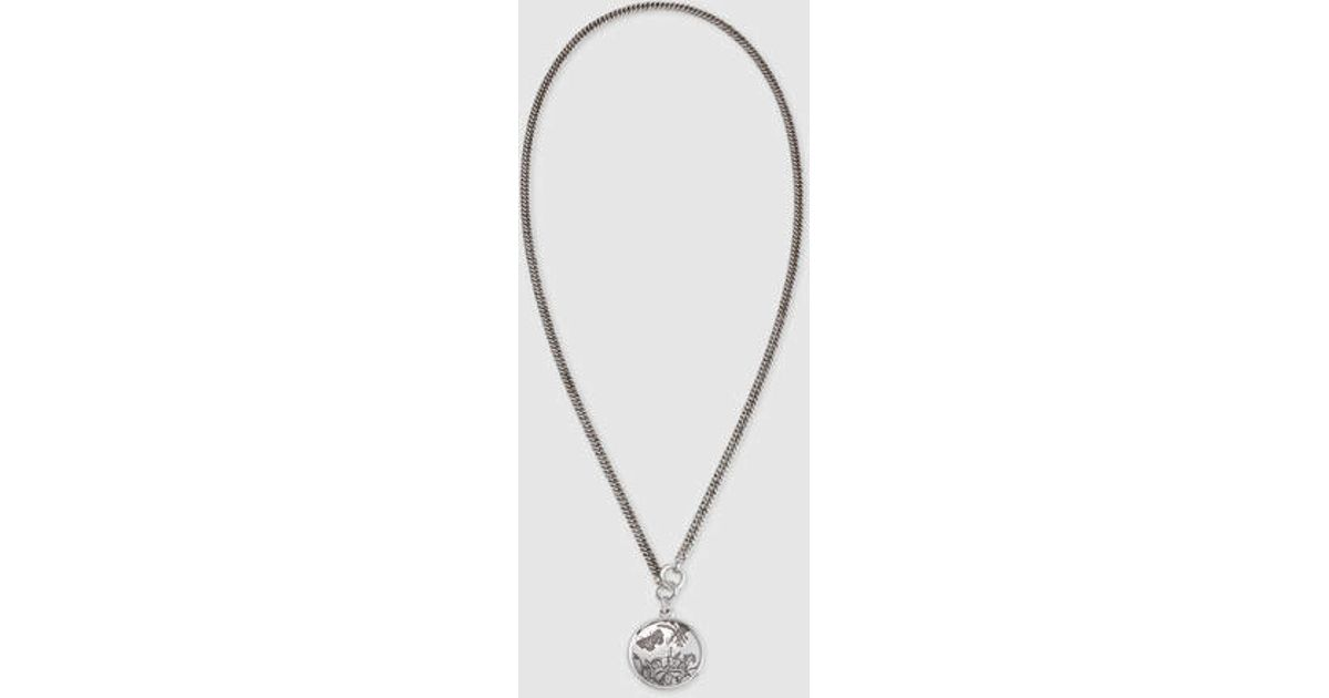 d90dbc032 Gucci Flora Necklace In Sterling Silver in Metallic - Lyst