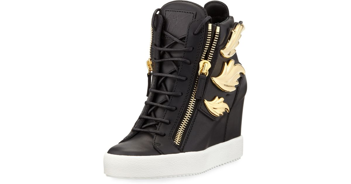 Giuseppe zanotti Cruel Embellished Leather Wedge Sneakers ...