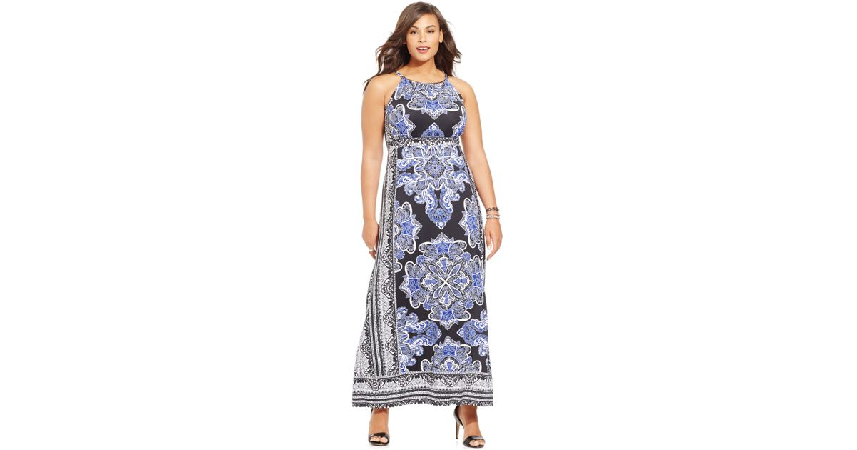 Inc international concepts Plus Size Printed Halter Maxi Dress in ...