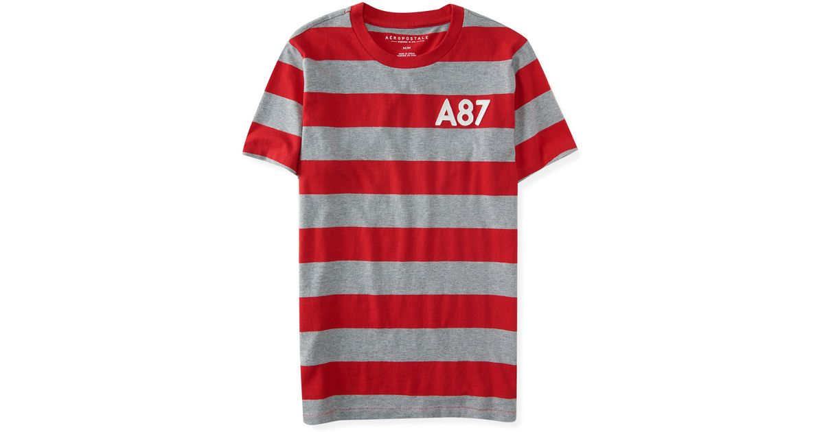 e86d3520540 Aéropostale A87 Core Stripe Logo Tee in Red for Men | Lyst