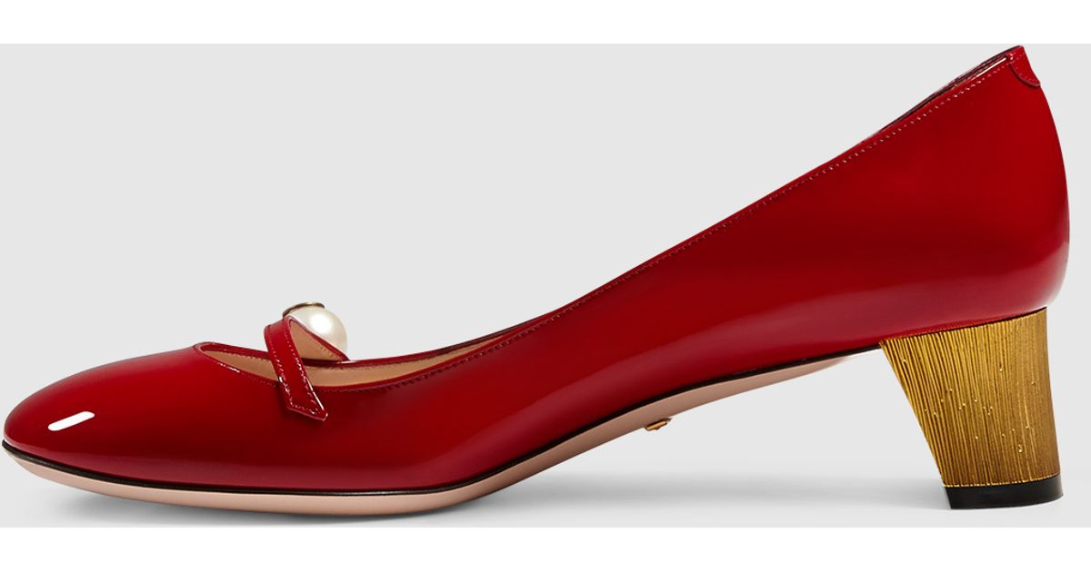 95b1aa16c760 Lyst - Gucci Patent Leather Pump in Red