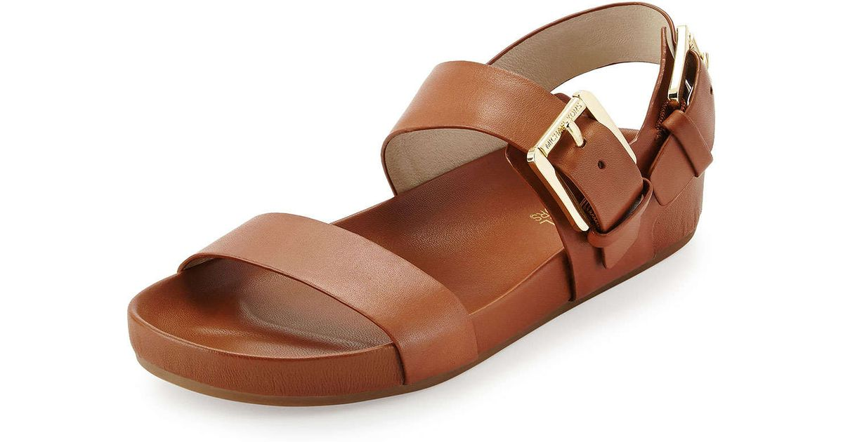 6daa7fcbb2bad5 Lyst - MICHAEL Michael Kors Sawyer Double-Band Sandals in Brown