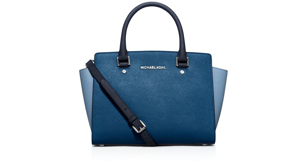 fc42ad8a67214 Michael Michael Kors Satchel - Medium Selma Tricolor Saffiano Top Zip in  Blue - Lyst