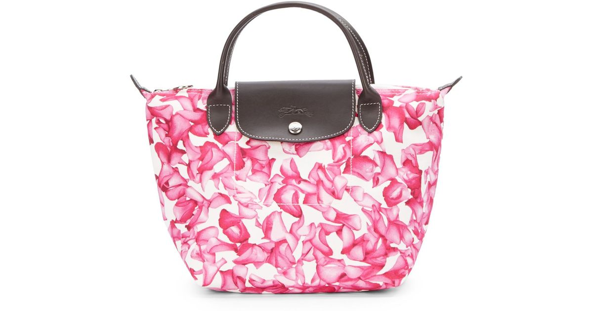 Lyst longchamp darshan floral small tote bag in pink mightylinksfo