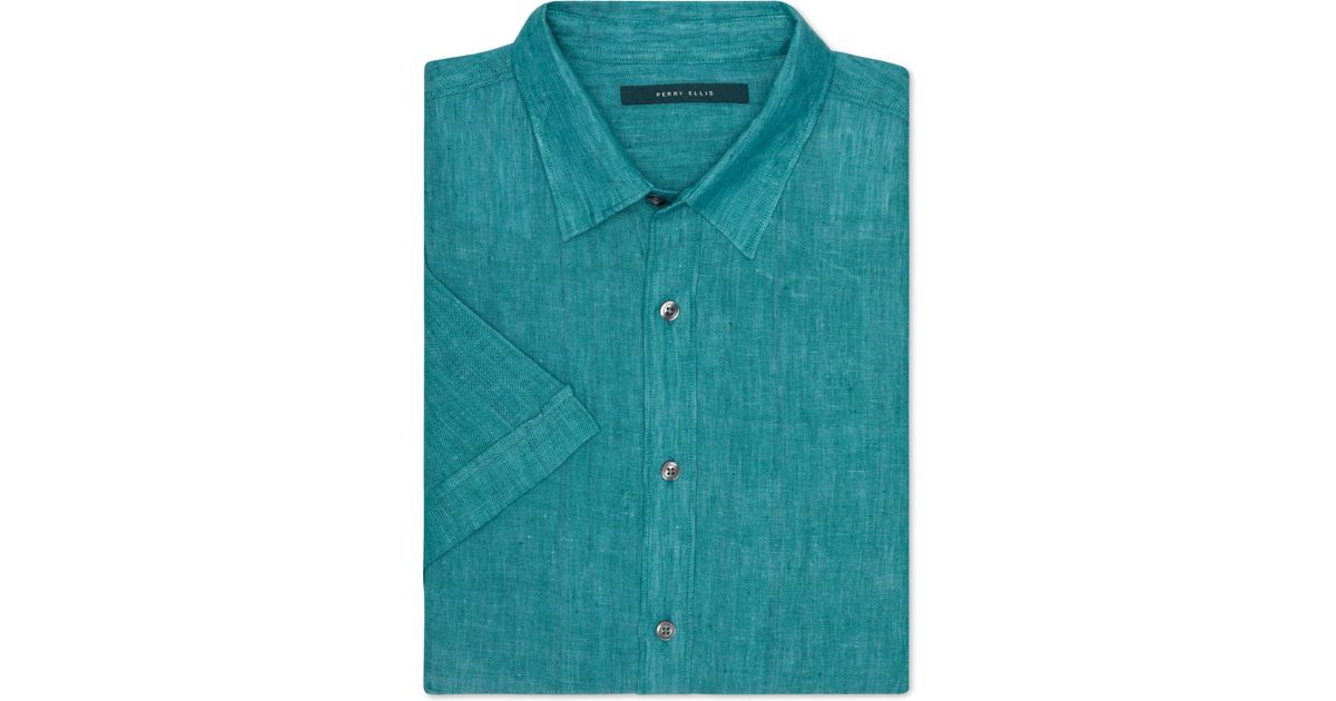 Perry Ellis Big And Tall Chambray Linen Short Sleeve