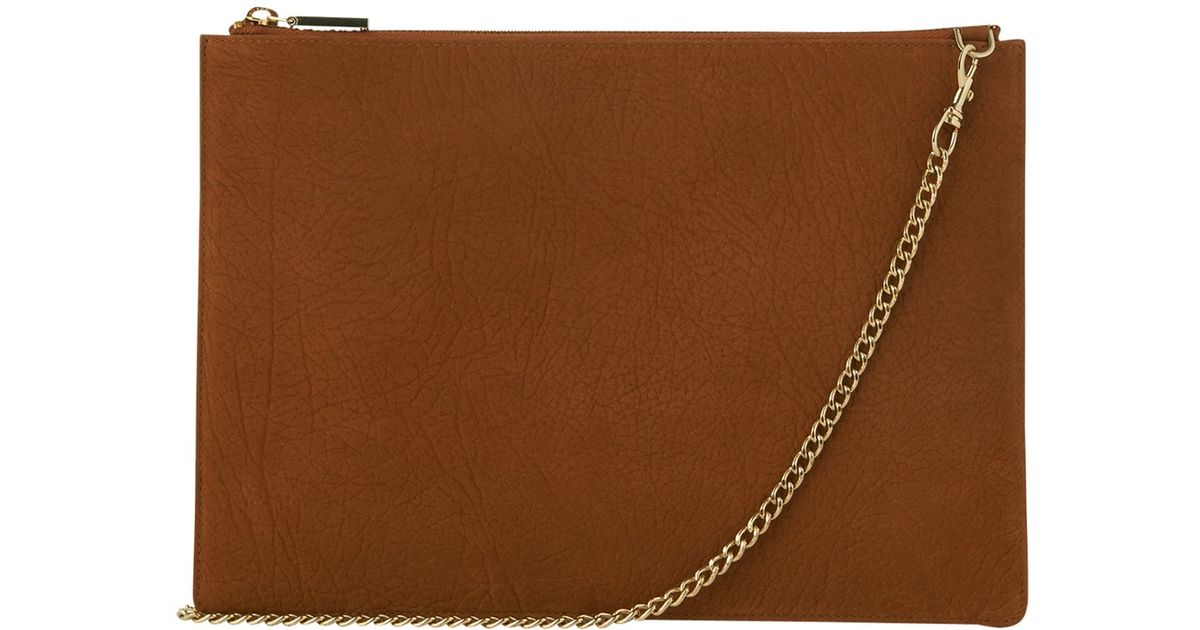 d752f60ab12 Whistles Rivington Pebble Leather Chain Clutch Bag in Brown - Lyst