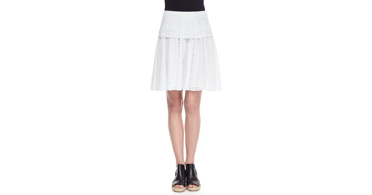 85daffbe07 Lyst - Rag & Bone Lakewood Netted Pleated A-line Skirt in White