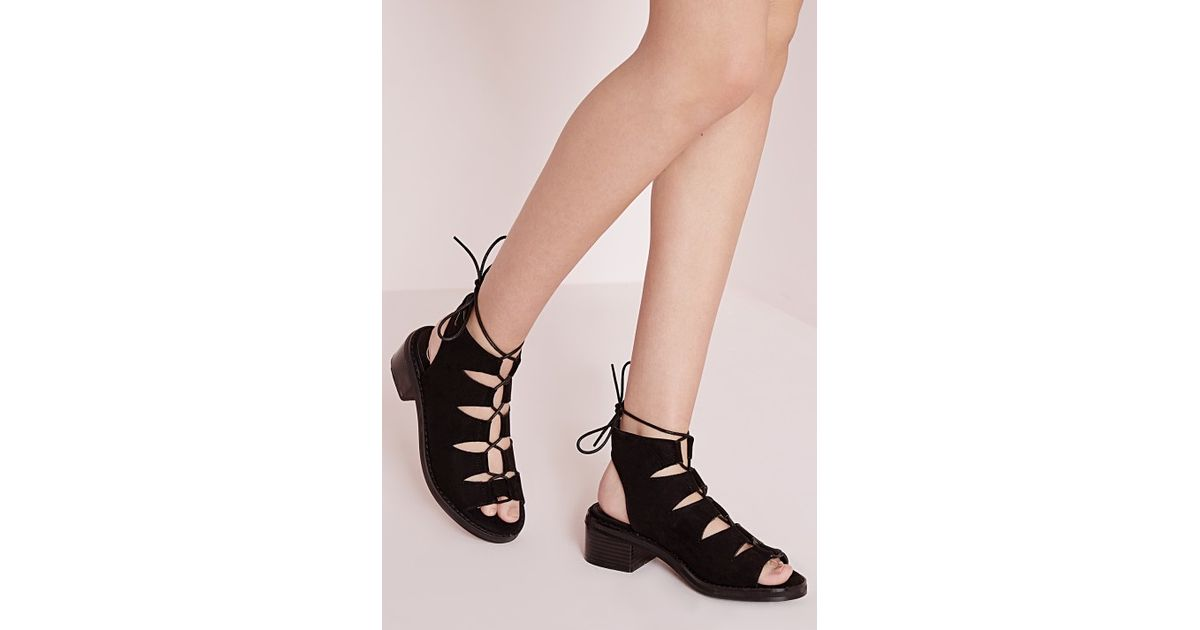 59b303c6ef5 Lyst - Missguided Lace Up Gladiator Sandals in Brown