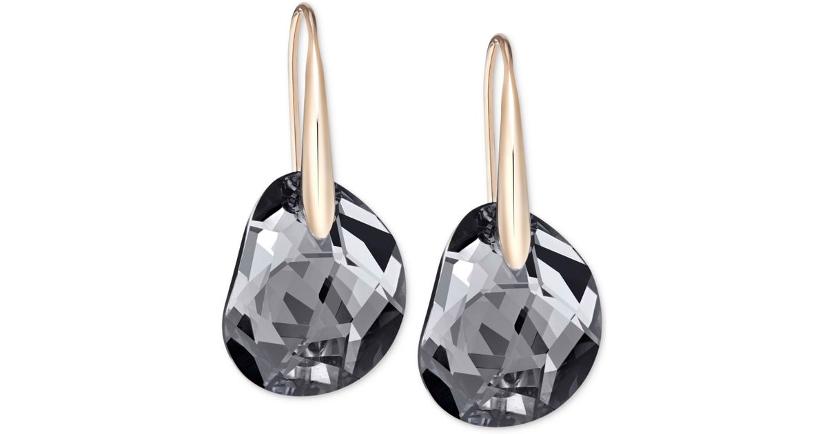 Swarovski rhodium galet blue pierced earrings