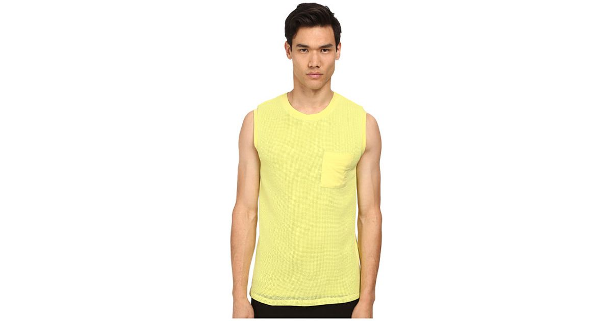 3b4a45fc Lyst - Helmut Lang Open Mesh Muscle Tee in Yellow for Men