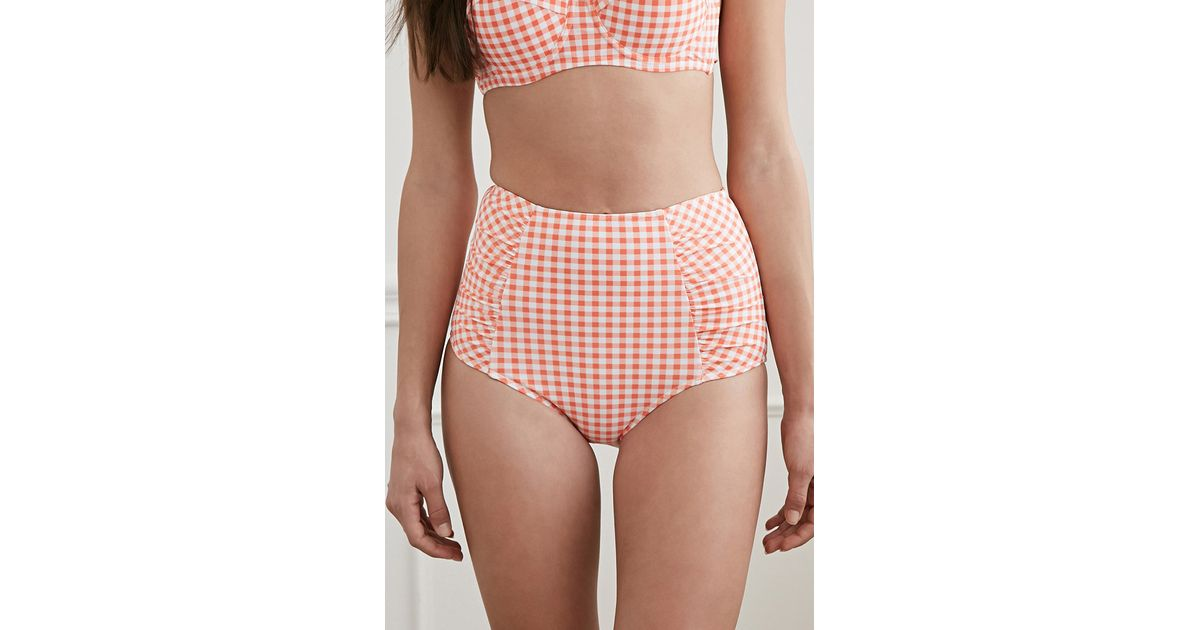 65135f64ee Forever 21 Gingham High-waisted Bikini Bottoms in Pink - Lyst