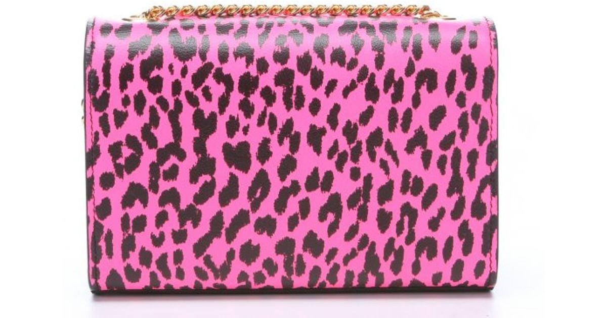 fake chloe purse - Saint laurent Neon Pink And Black Leopard Print Leather \u0026#39;Ysl ...