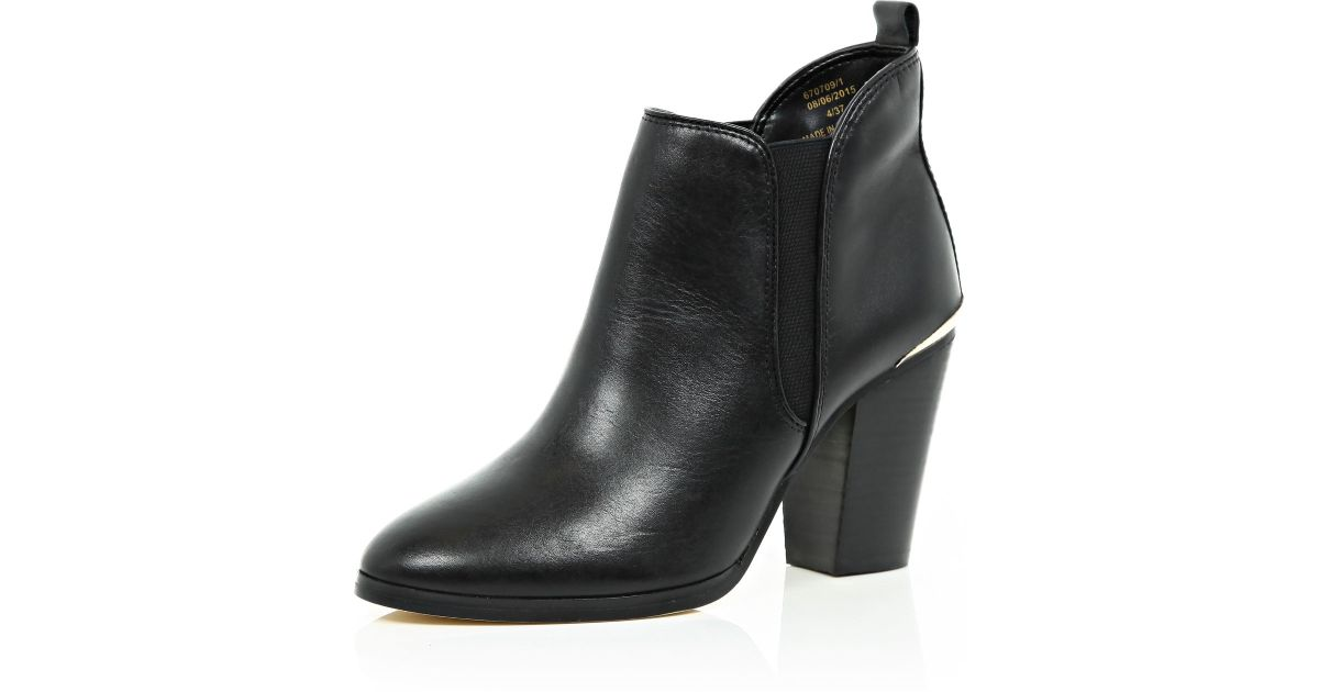 Black Cleated Sole Chelsea Boots River Island