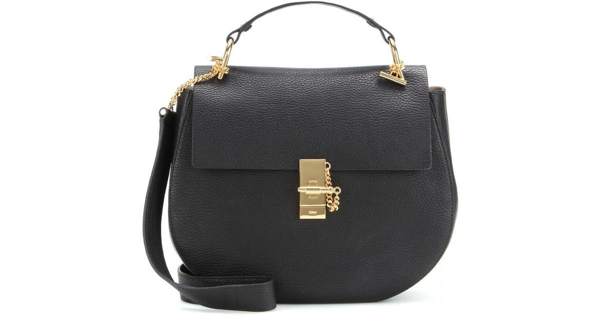 eb078545e5 Chloé Drew Large Leather Shoulder Bag in Black - Lyst
