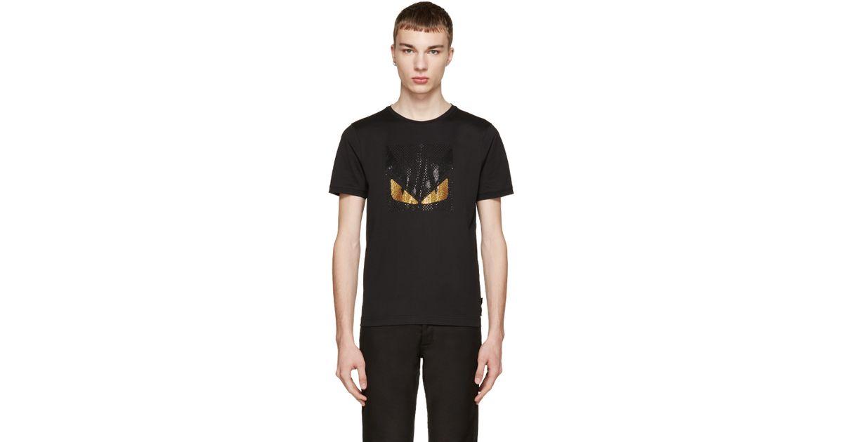 8f348d8800d7 Lyst - Fendi Black Crystal Monster T-shirt in Black for Men