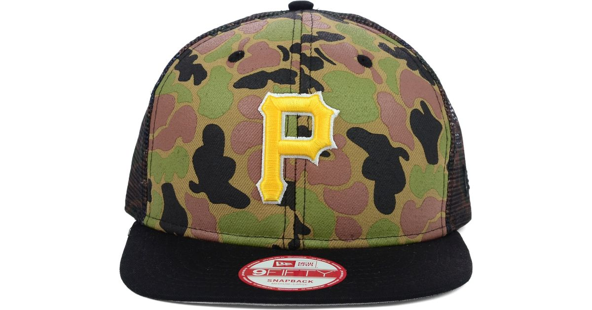 02499545c45 Lyst - KTZ Pittsburgh Pirates Camo Face Mesh Trucker 9fifty Snapback Cap in  Green for Men