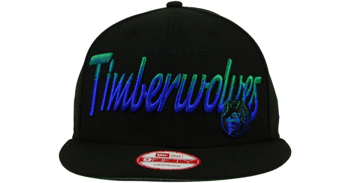 cheap for discount ba480 de38a ... canada lyst ktz minnesota timberwolves fade to script 9fifty snapback  cap in black for men bb75b
