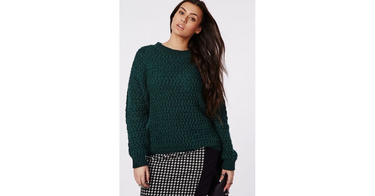 Lyst Missguided Plus Size Chunky Knit Sweater Forrest Green In Green
