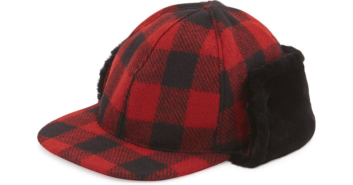 356085a1ca60c8 UGG Mclain Buffalo Plaid Trapper Hat W/shearling in Red - Lyst
