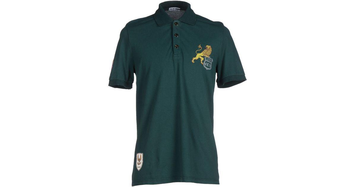 Cesare paciotti polo shirt in green for men dark green for Dark green mens polo shirt