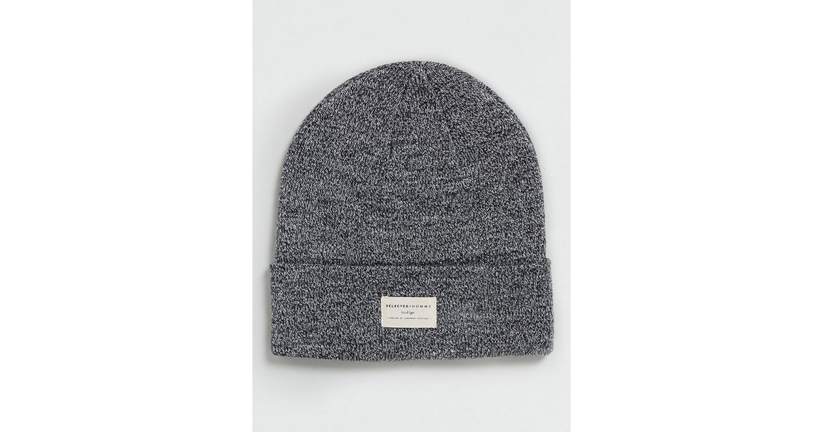 9fa66df0a TOPMAN - Gray Selected Homme Grey Beanie for Men - Lyst