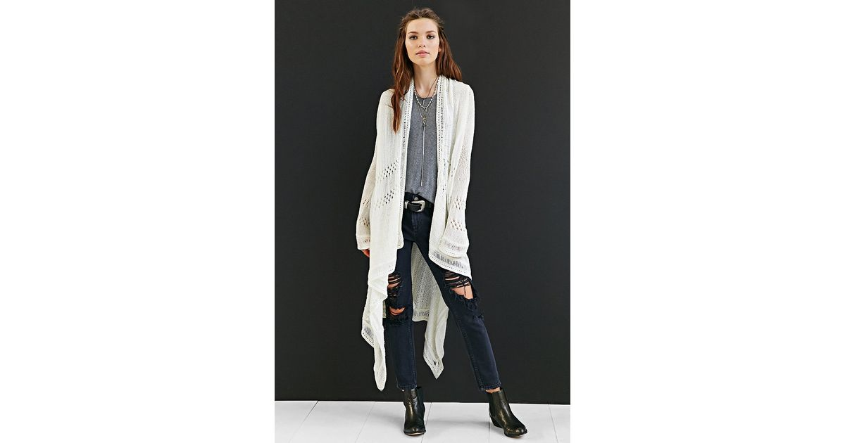 Ecote High/Low Drapey Open-Front Cardigan Sweater in White | Lyst