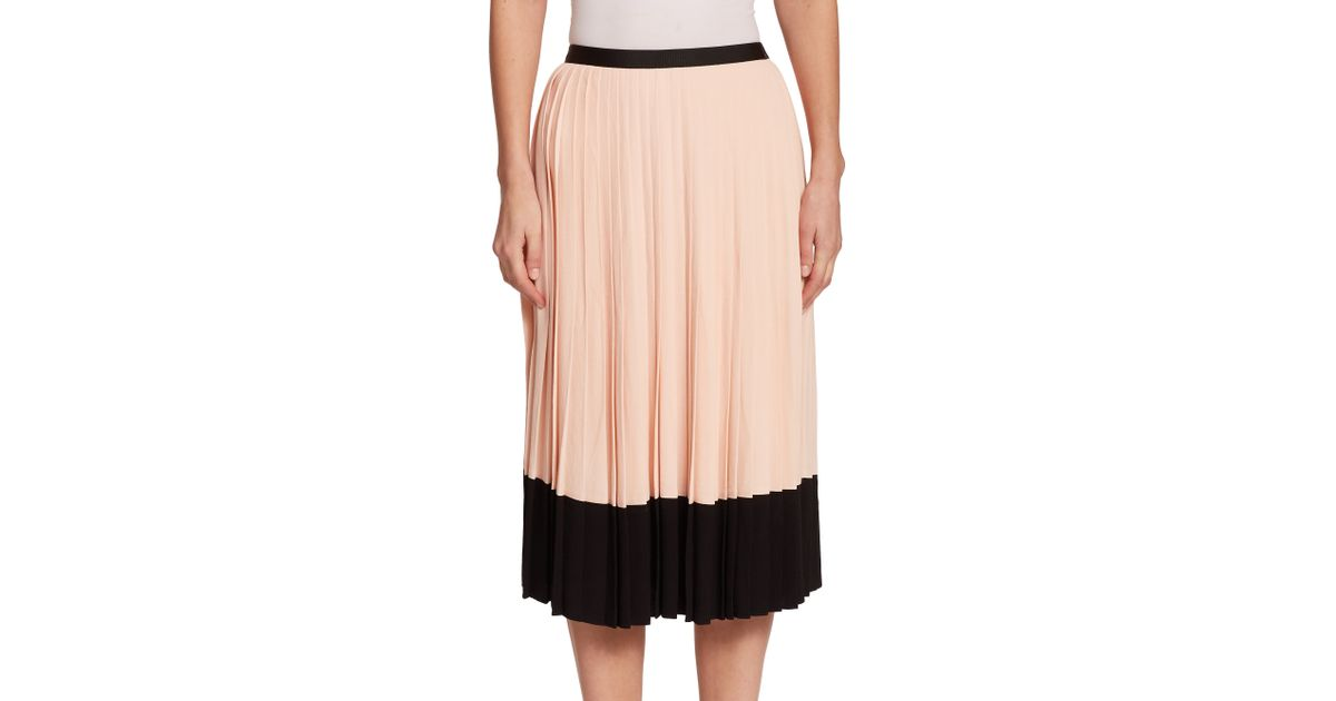 5375b3588 Kate Spade Pleated Crepe Skirt in Pink - Lyst