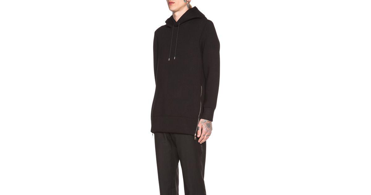 Lyst - Neil Barrett Men S Extra Long Side Zip Hoodie in Black 62c946085cc