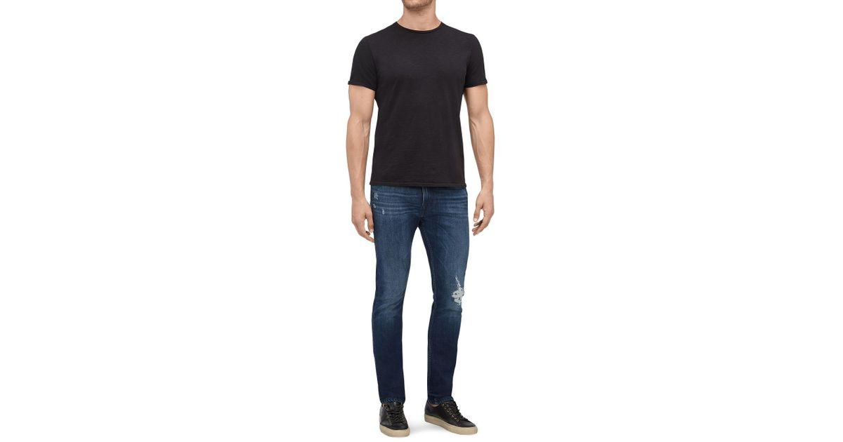 8f051850 7 For All Mankind Ronnie Dark Blue Destroyed in Blue for Men - Lyst