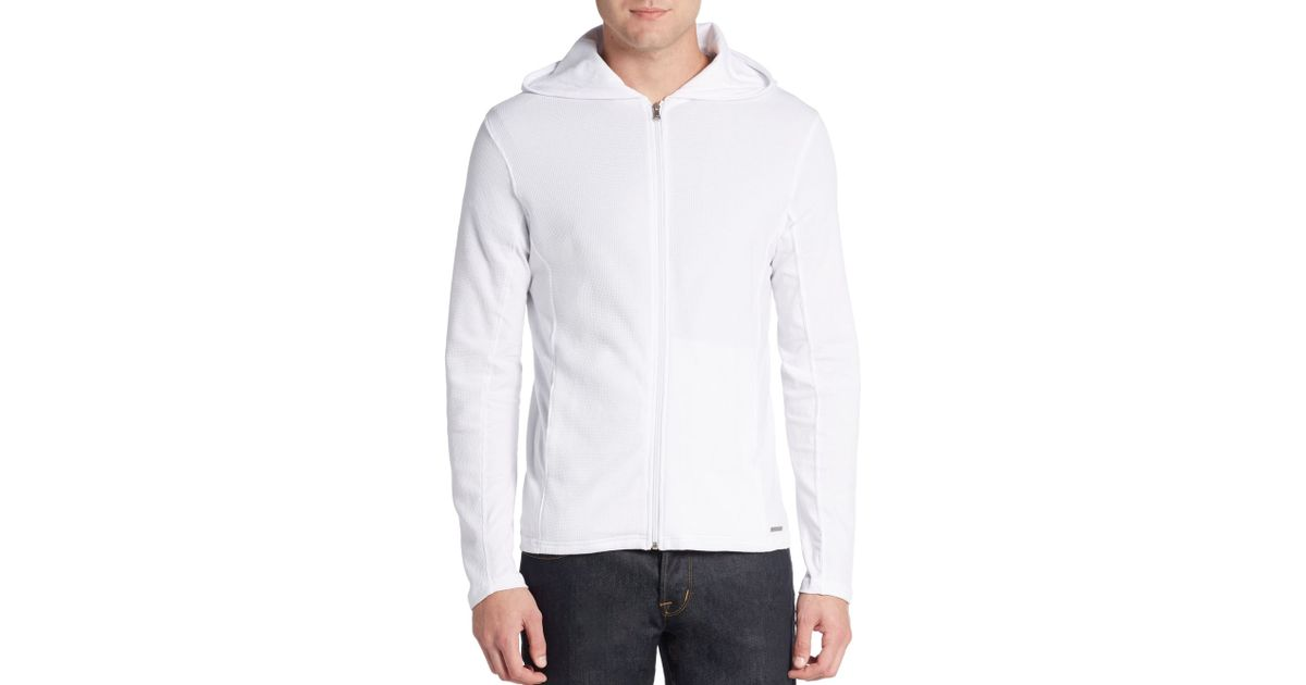 f55fcc12111ae Lyst - Michael Kors Waffle-knit Zip Hoodie in White for Men