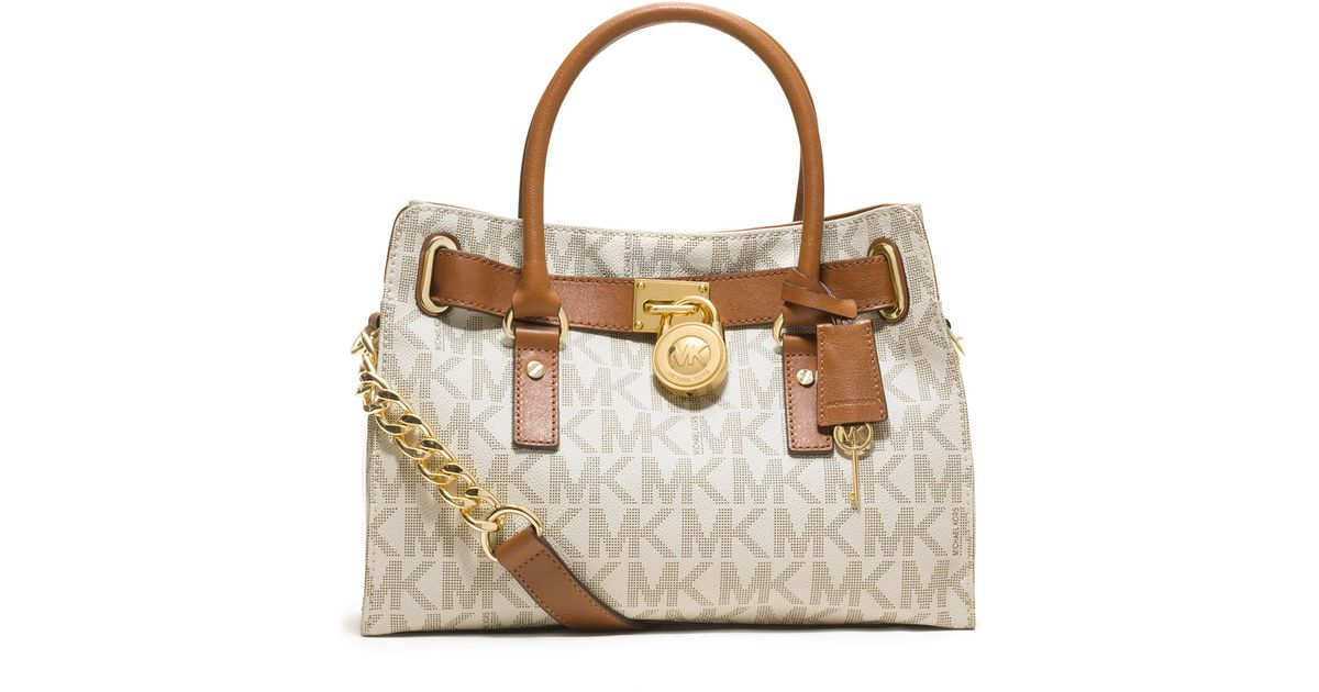 ... canada lyst michael michael kors hamilton logo satchel bag in brown  94848 0de98 1ab56245b0653