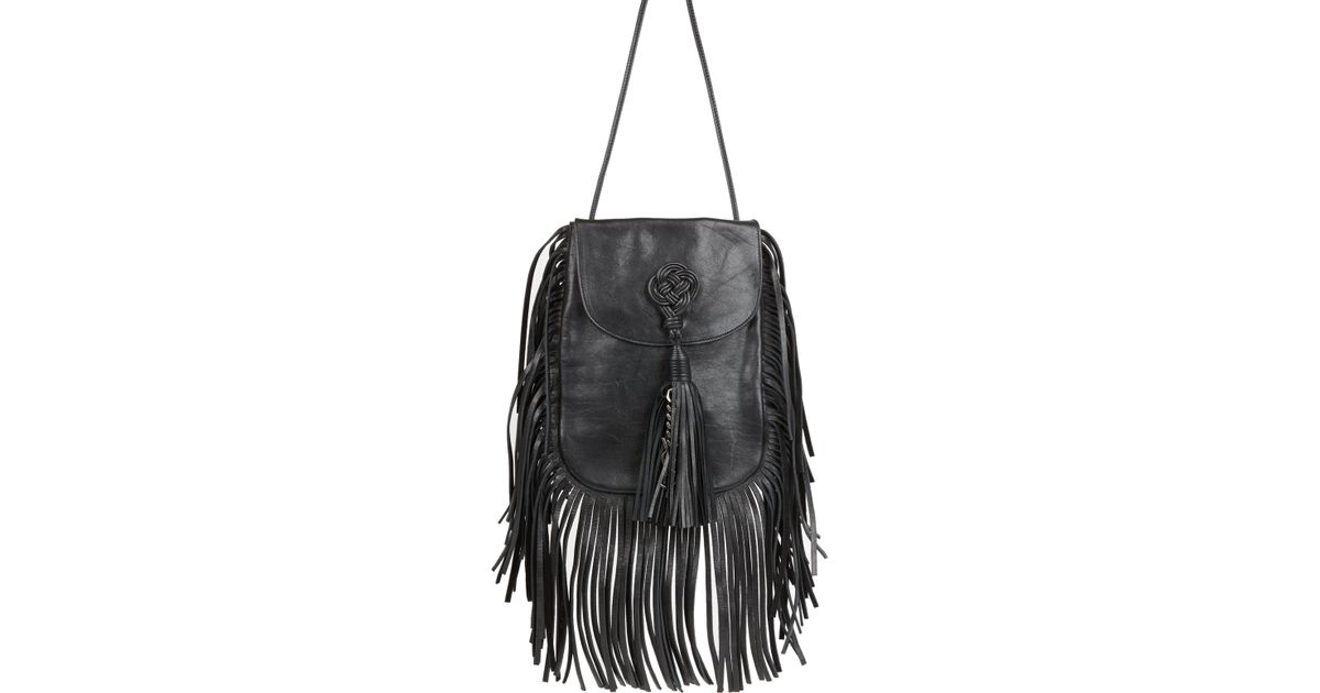 Lyst - Saint Laurent Anita Flat Fringed Leather Crossbody Bag in Black 139c73a4a6ae5