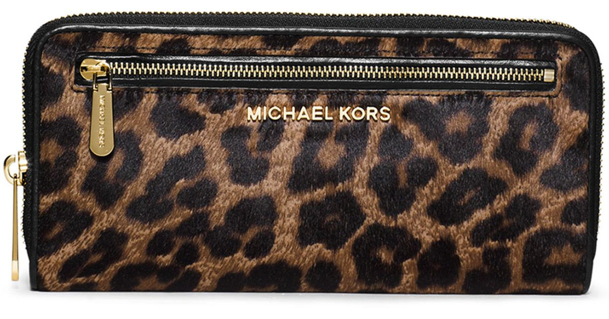 65842a3e52b4 ... france lyst michael michael kors jet set cheetah print calf hair  continental wallet 7bcce ebb81